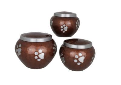 Aluminium urn bruin met pootafdrukken