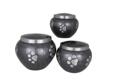 Aluminium urn grijs met pootjes