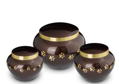 Messing urn bruin met pootjes